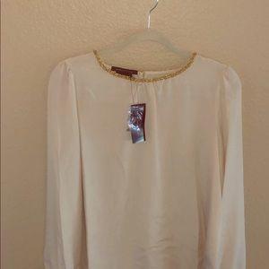 BCBGMAXAZRIA long sleeve cream blouse- NWT